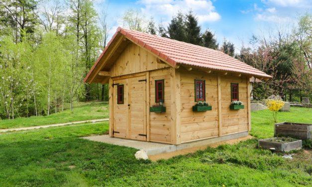 De garage van hout
